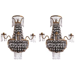 Pair of Italian Empire Sconces Gilt Iron Crystal Basket Wall Lights circa 1810