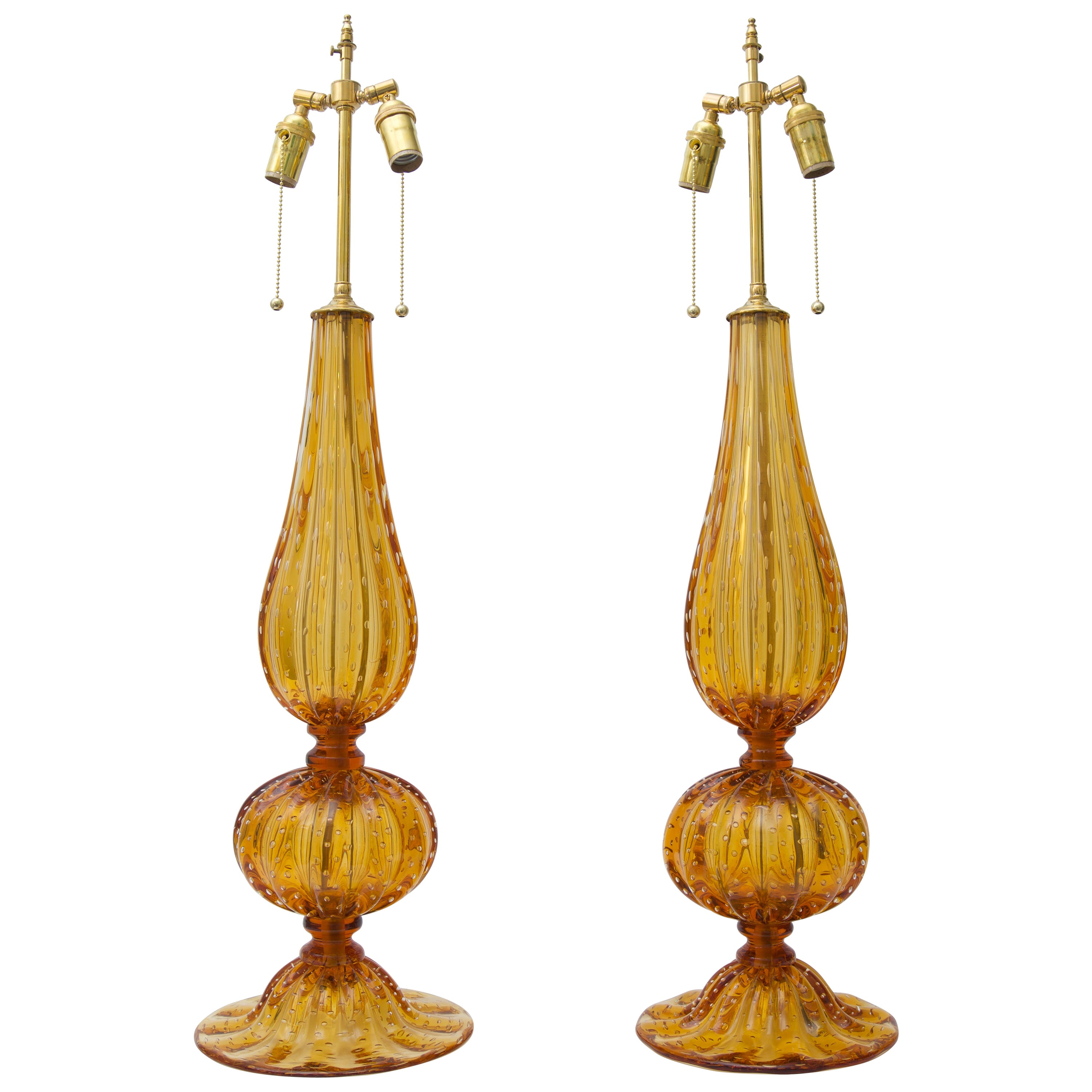 Pair of Golden Amber Colored Murano Glass Table Lamps