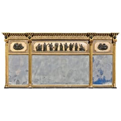 Period Regency Neoclassical Overmantel Mirror, All Original