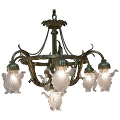 French Art Nouveau Bronze and Glass Chandelier