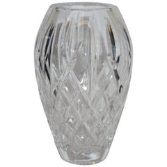 Heavy Cut Crystal Diamond Pattern Waterford Vase Signed Sinead Christian, 1999