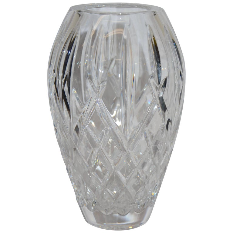 Heavy Cut Crystal Diamond Pattern Waterford Vase Signed Sinead Christian 1999 For Sale At 1stdibs