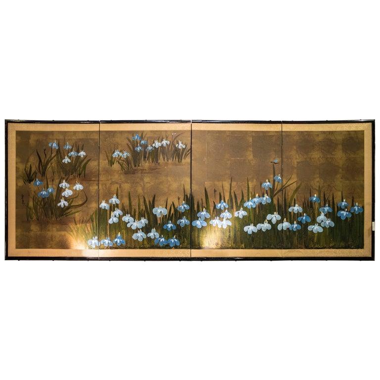 19th Century Edo Painted with Iris Japanese Signed Byobu Screen