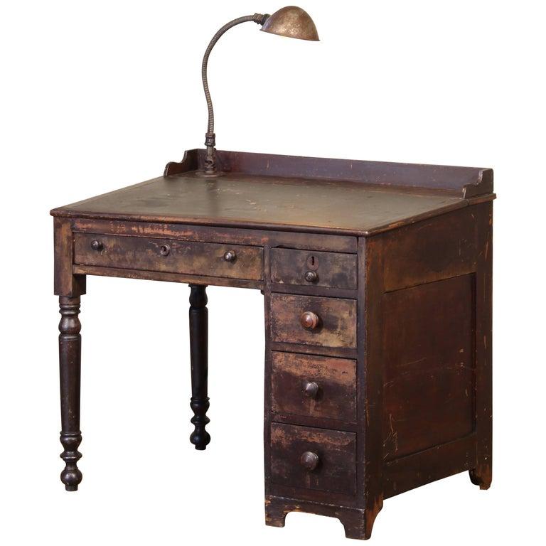 Vintage Industrial Clerk's Desk Workbench with Adjustable Goose-Neck Task Light