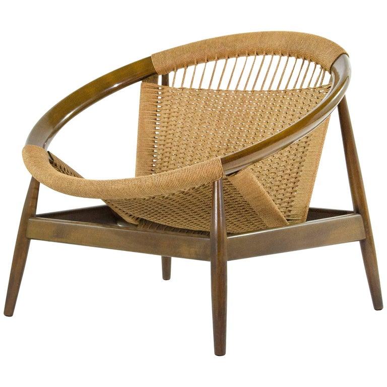 Illum WikkelsøRingstol Number 23 teak and woven-cord ring chair, 1950s