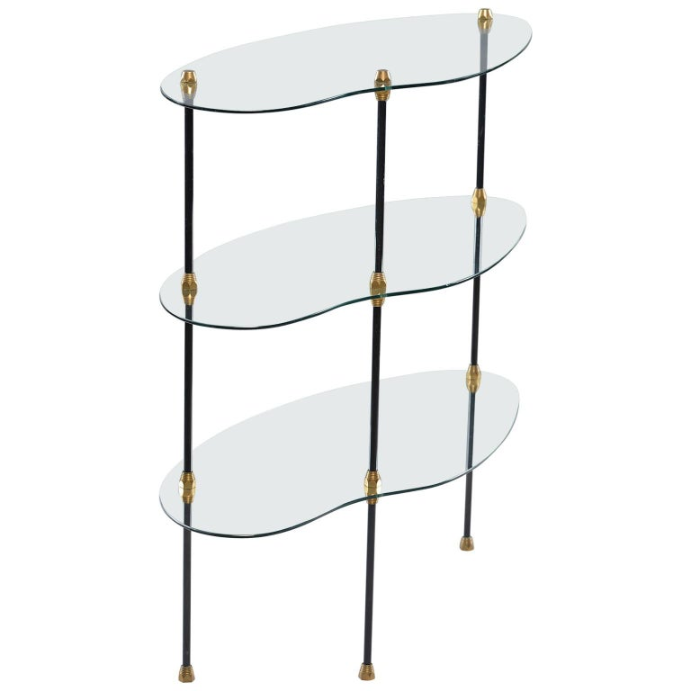 Italian Midcentury Three Tier Glass Etagere