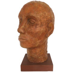 Terracotta Head Sculpture on a Wood Base
