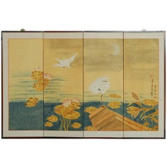 Japanese Four Panel Byobu Screen of White Egrets