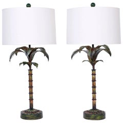 Pair of Painted Metal Palm Tree Lamps