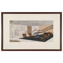 1930s Gouache Drawing of a Modernist Interior