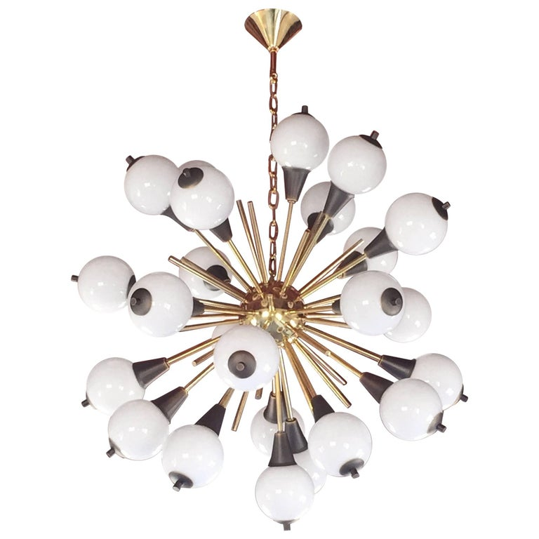 Contemporary Italian Antique Bronze and White Murano 24 light Sputnik Chandelier