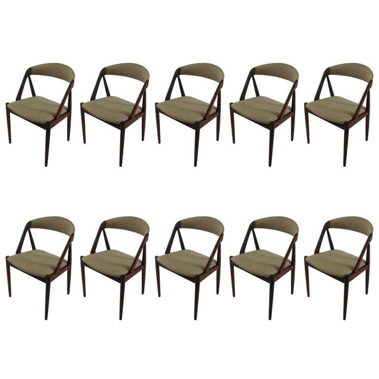 1960s Kai Kristiansen Set of Ten Model 31 Dining Chairs in Teak