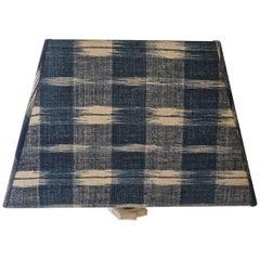 Indigo Ikat 18th Century French Cotton Custom Made Lampshade
