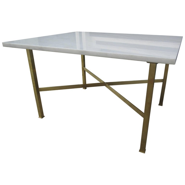Marble and Brass Coffee/Side Table in the Style of Paul McCobb