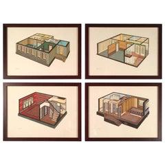 Set of Four Art Deco German Interior Prints