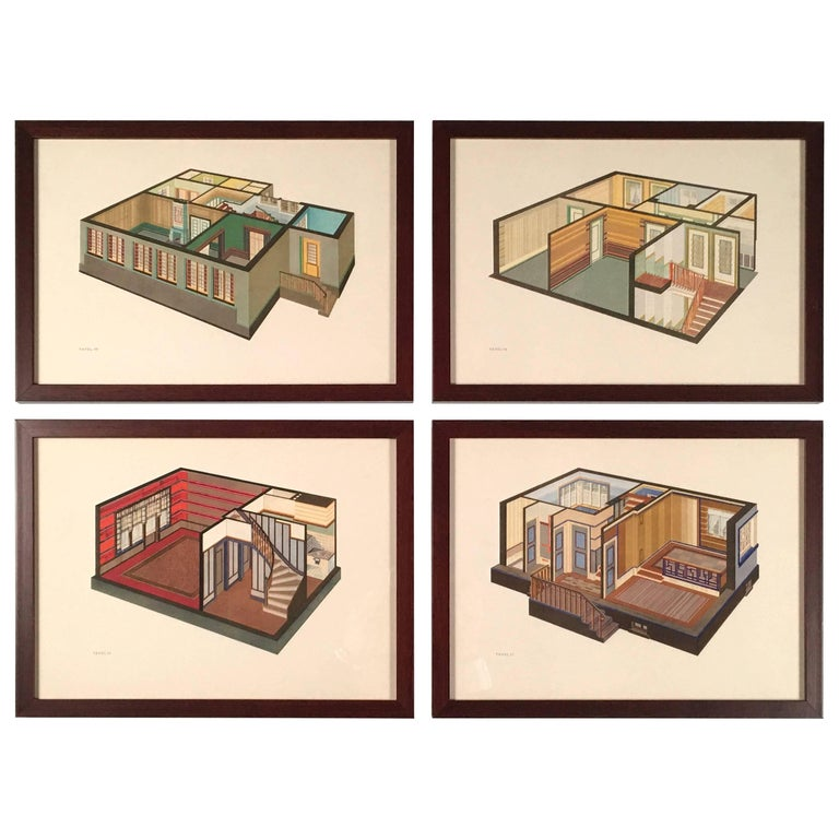 Set of Four Art Deco German Interior Prints For Sale