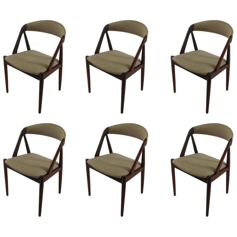 1960s Kai Kristiansen Set of Six Reupholstered Model 31 Teak Dining Chairs