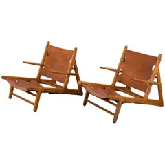 Pair of Børge Mogensen Hunting Chairs for Fredericia Stolefabrik
