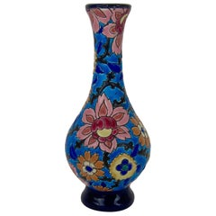 Vintage French Faience Emaux de Longwy Bud Vase