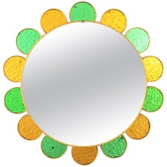 Mid-Century Modern Flower Shaped Mirror with Golden and Green Glass Petals