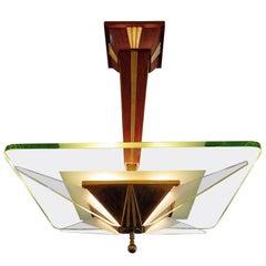 Italian Modern Brass, Glass and Walnut Chandelier, Max Ingrand for Saint-Gobain