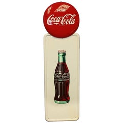 Vintage 1947 Coca Cola Bottle Pillar Sign with 1951 Coke Button Advertising Sign
