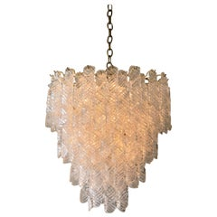 Italian Murano Glass and Brass Chandelier by Mazzega