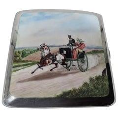 English Sterling Silver & Enamel Cigarette Case with Regency Coaching Days Scene