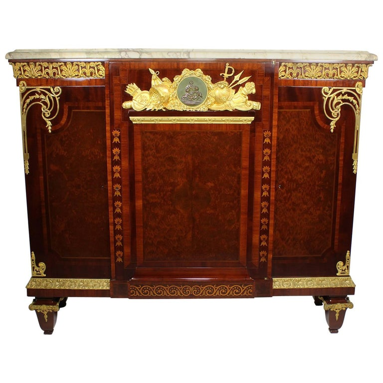French Louis XVI Style Ormolu Mounted Military Armor Commode Attr. Mâison Millet