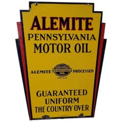 1930s Alemite Pennsylvania Motor Oil Double Sided Porcelain Art Deco Sign