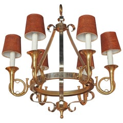 Six Light Steel and Brass Horn Hunt Style Chandelier