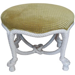 Hollywood Regency Style Twisted Rope Stool