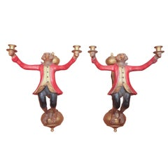 Pair of Monkey Sconces by Bill Huebbe