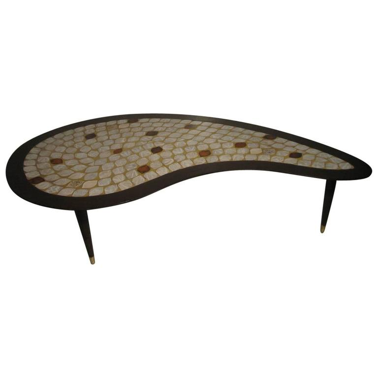 Mid Century Modern Kidney Shaped Tile Top Tail Table By Hohenberg For
