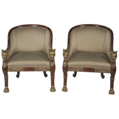 Pair of Parcel-Gilt Carved Wood Armchairs