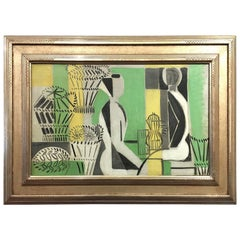 Mid-Century Modern French Oil on Canvas by Jacques Lagrange