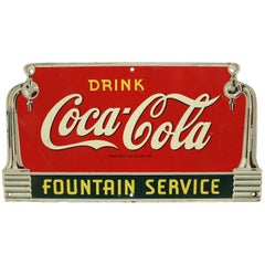 1940s Coca Cola Fountain Service Die-Cut Coke Advertising Sign Masonite