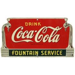 1940s Coca Cola Fountain Service Die-Cut Coke Advertising Sign Masonite