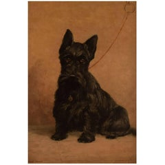 Probably French Artist, Oil on Plate, Black Scottie, circa 1930s-40s