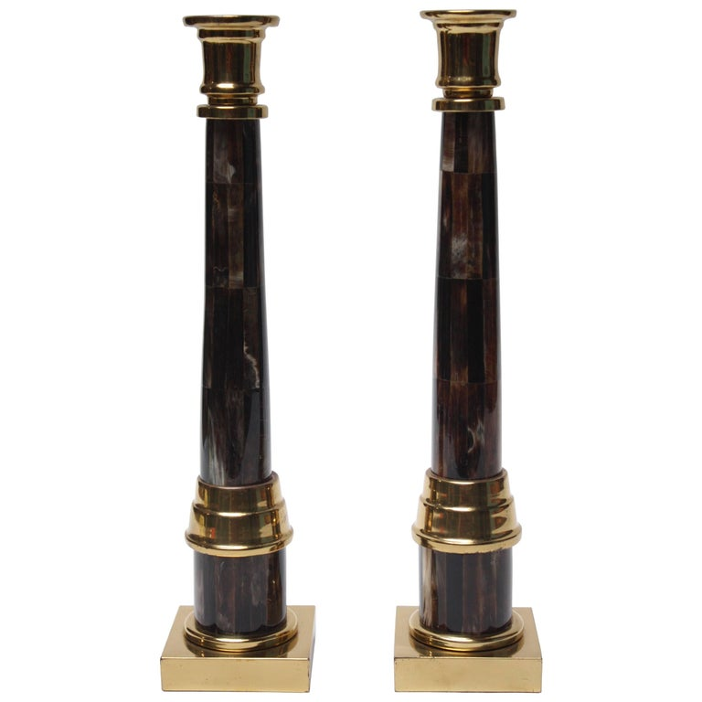 Pair of Enrique Garcel Lacquer, Resin and Brass Candlesticks