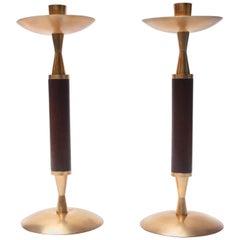 Pair of Large Danish Mahogany and Brass Candlesticks
