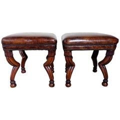 Carved Wood Gazelle Embossed Leather Benches, Pair