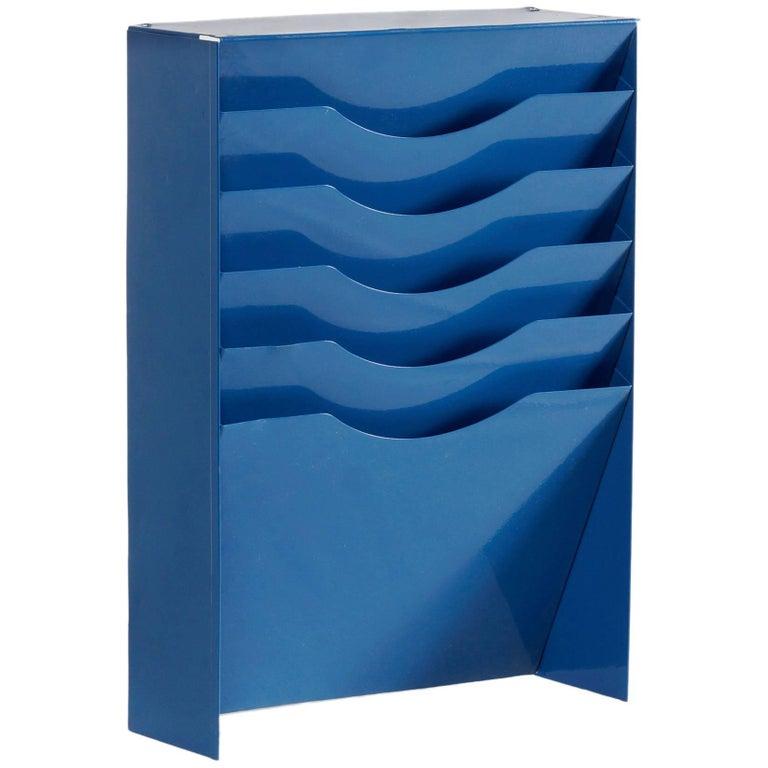Vintage Vertical File Holder / Magazine Rack Refinished in Blue