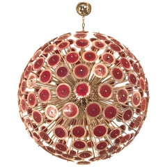 Italian Red Murano Disco Chrome Sputnik