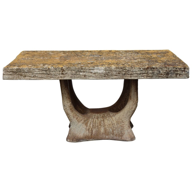 Vintage French Garden Faux Bois Table