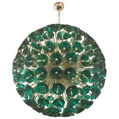 Italian Green Murano Trumpets Chrome Sputnik