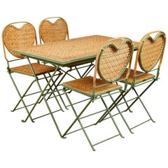 """Un Jardin en Plus"" Metal and Cane Table and Chairs"