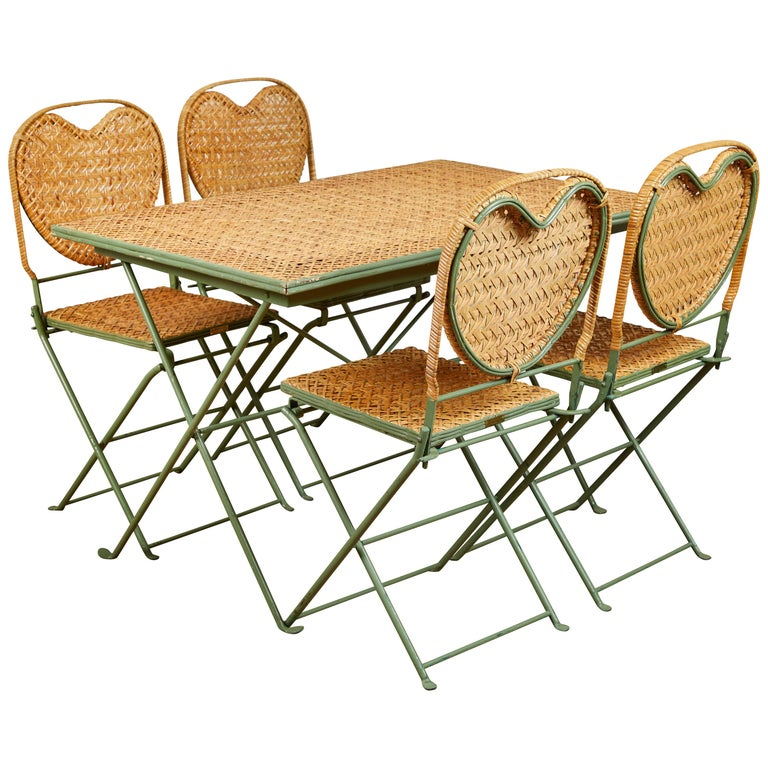 """Un Jardin en Plus"" Metal and Cane Table and Chairs For Sale"