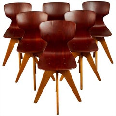 Set of Six Midcentury German School Chairs