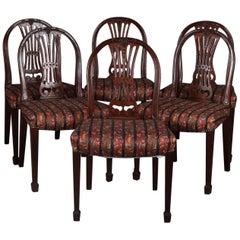 Set of Six English Carved Mahogany Ribbon Back Upholstered Dining Chairs
